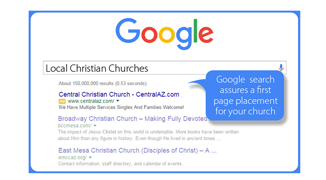 google search for churches