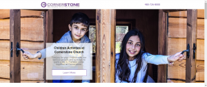 church landing page library kid activities