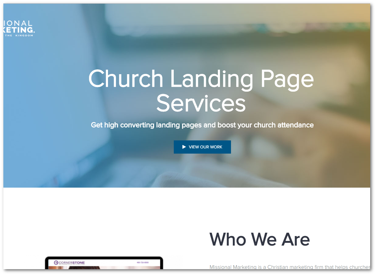church landing page services