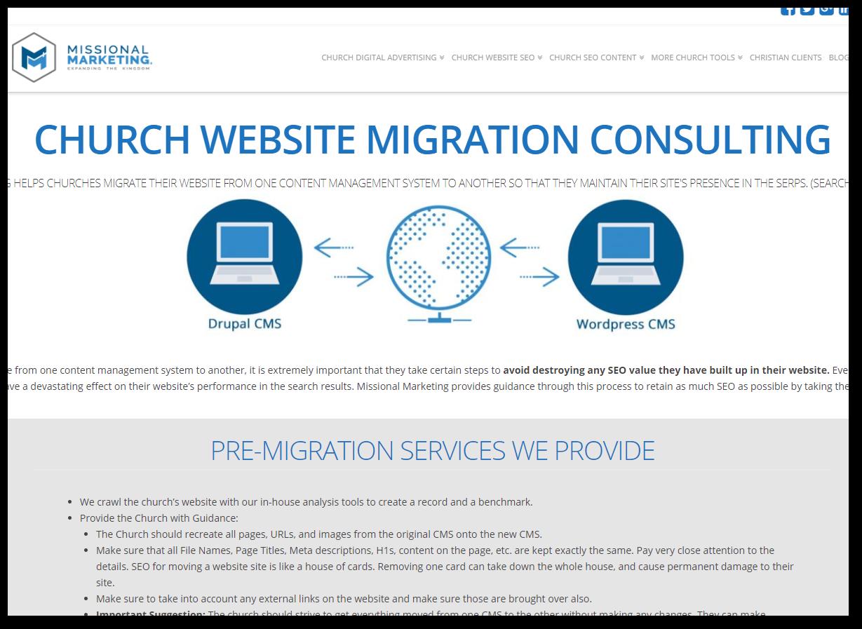 church website migration