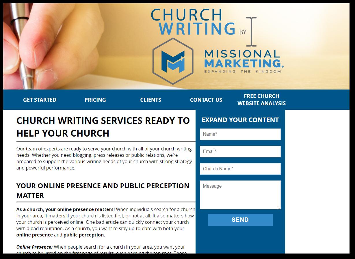 church writing services