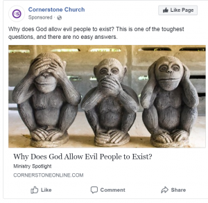 Church facebook ad millennial focus group ad