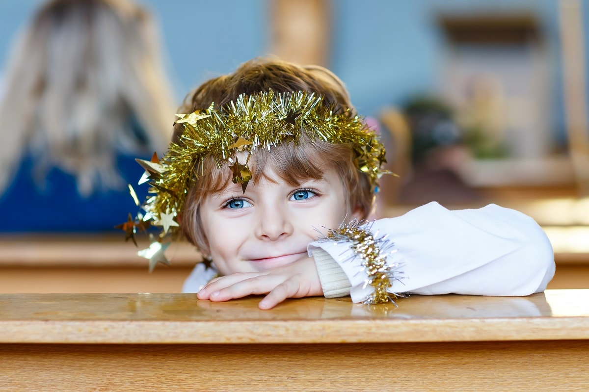 A child at church at Christmas