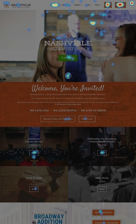 Sample Church Homepage Click Heatmap
