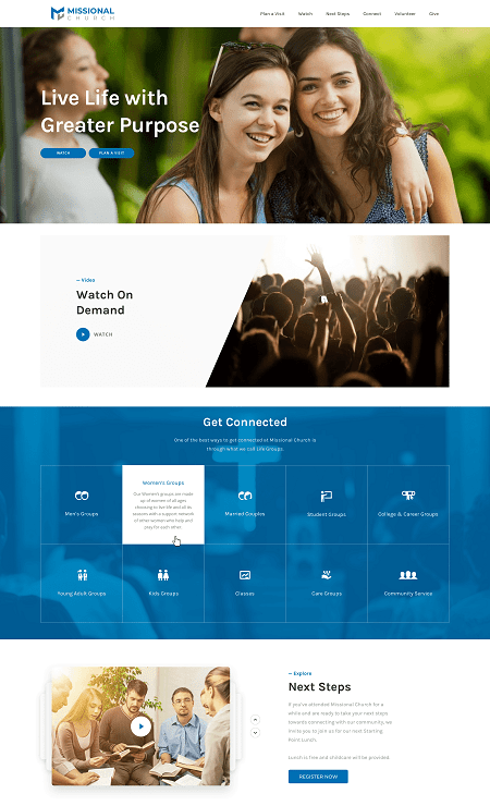 Sample Church Homepage Mockup Thumbnail