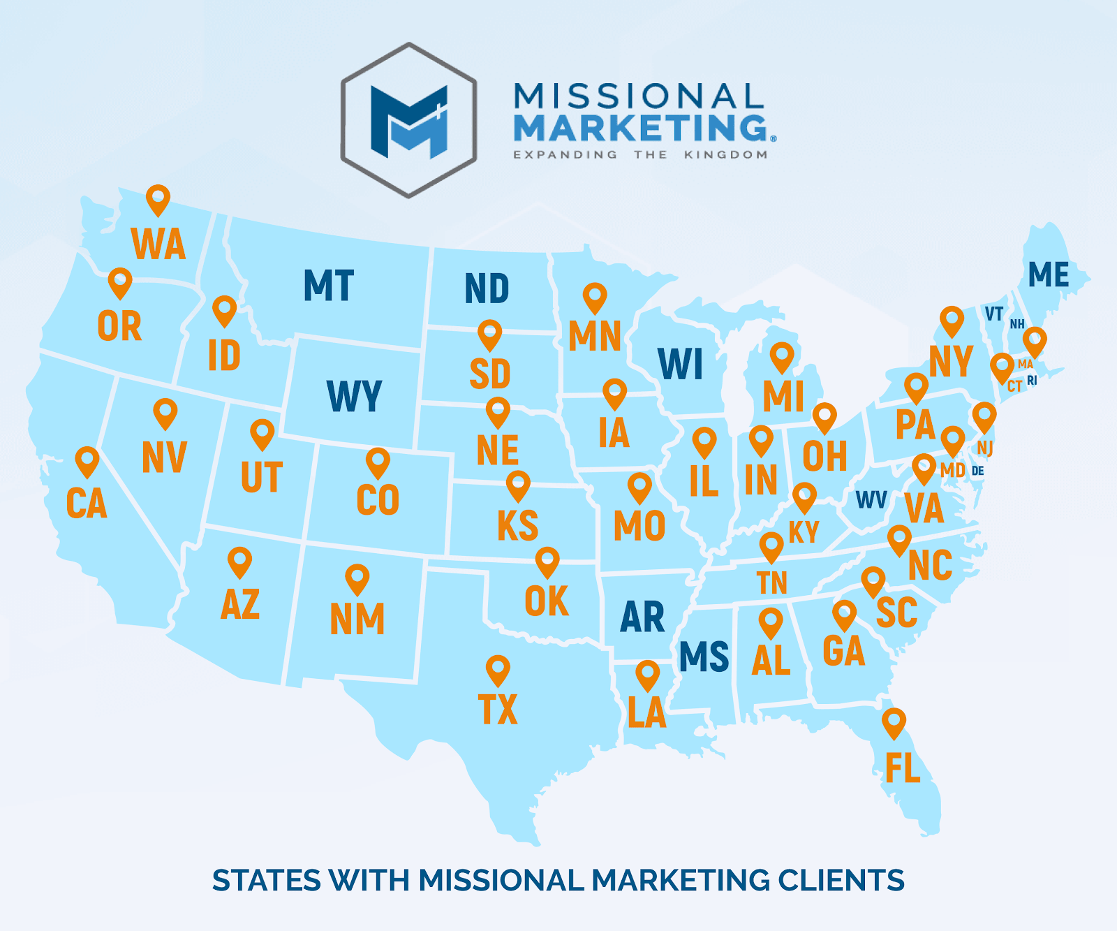 Map of our clients across the United States